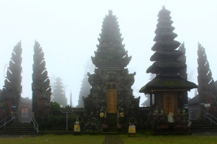 The Pura Ulun Danu Batur temple on a misty day