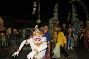 Posing with the monkey god
