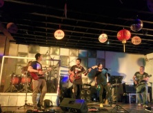 Listening to the Black Shadows - a pretty cool local Bali band